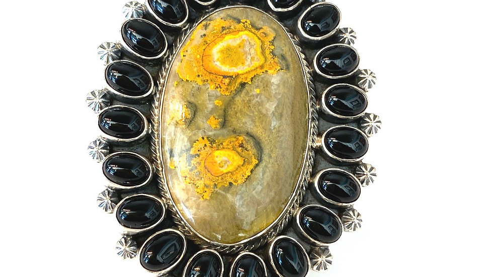 Yellow Jasper onyx cluster ring