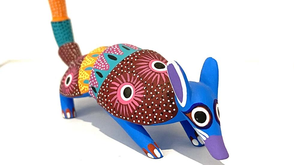 Blue multi color armadillo Oaxacan Alebrije
