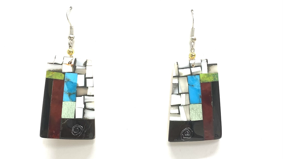 Mosaic earrings white top