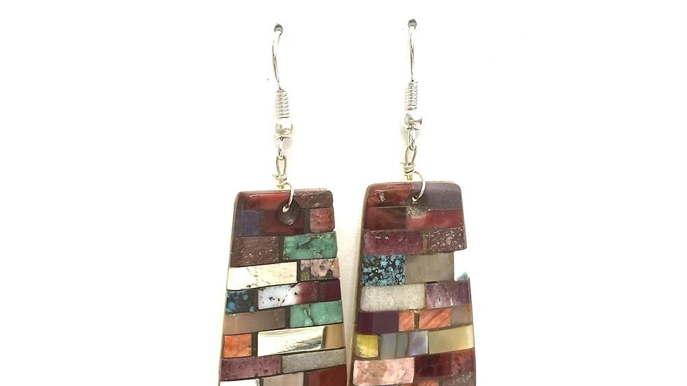 Mosaic earrings purple