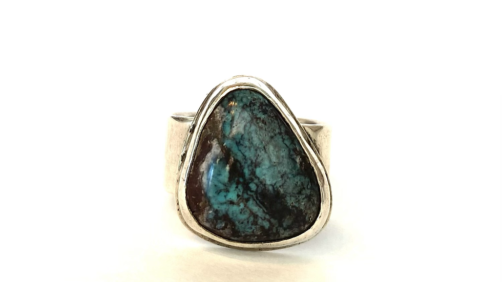 Deep turquoise silver ring
