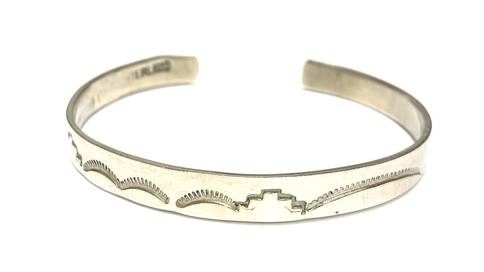 Hand stamped silver cuff bracelet