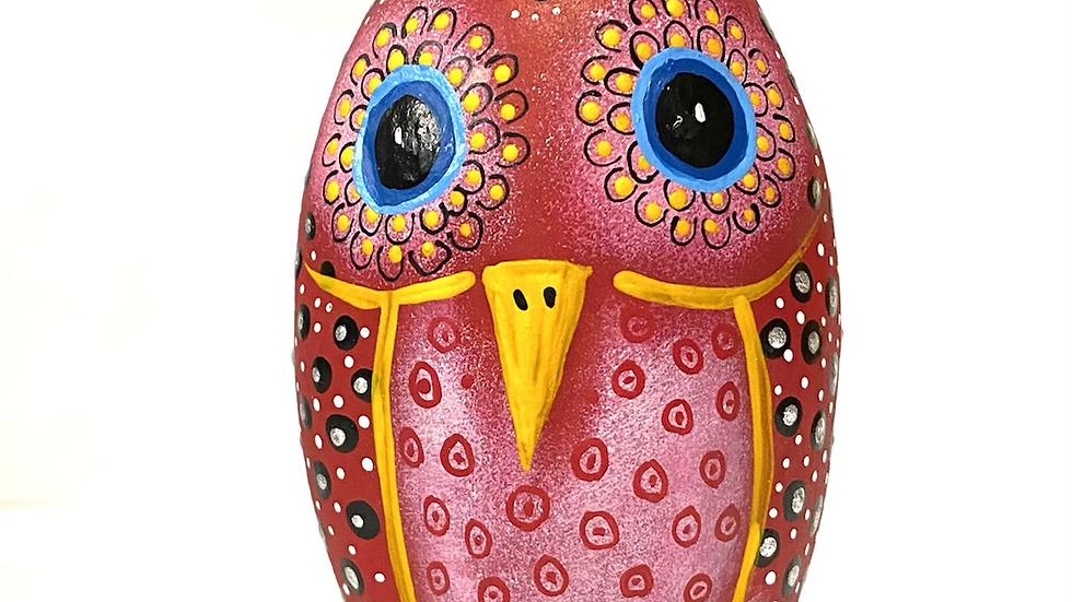 Rust oval bird Oaxacan Alebrije