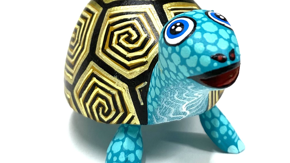 Turquoise & Gold turtle Oaxacan Alebrije