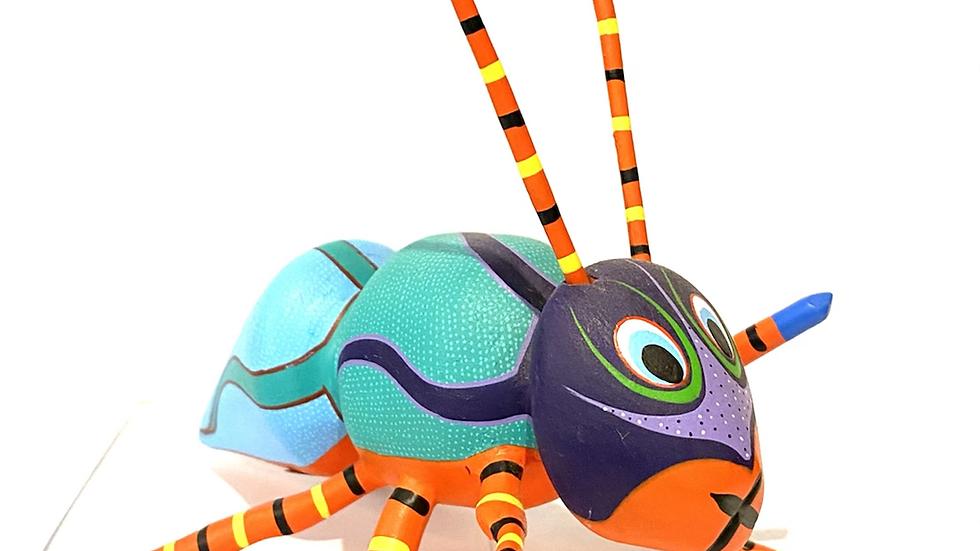Black and turquoise ant Oaxacan Alebrije
