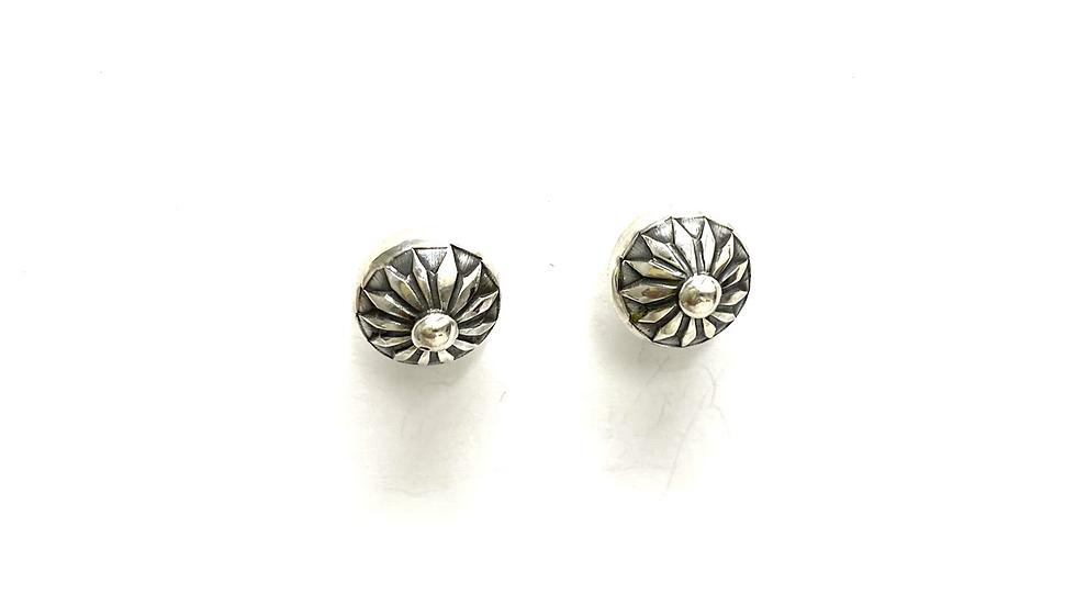 Silver bead post earrings