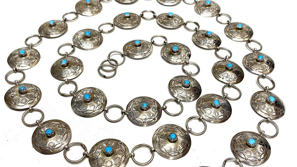 Turquoise silver concha belt