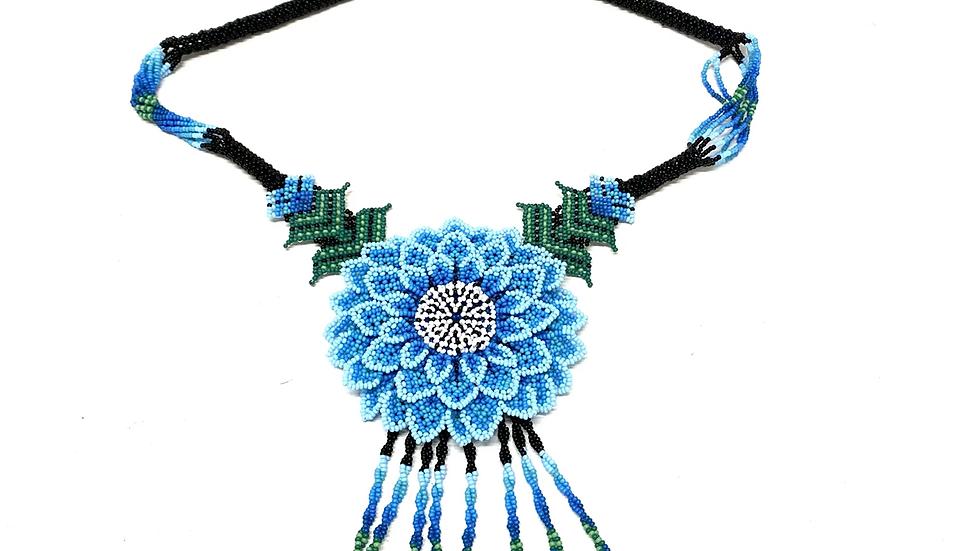Blue 3D Huichol flower necklace