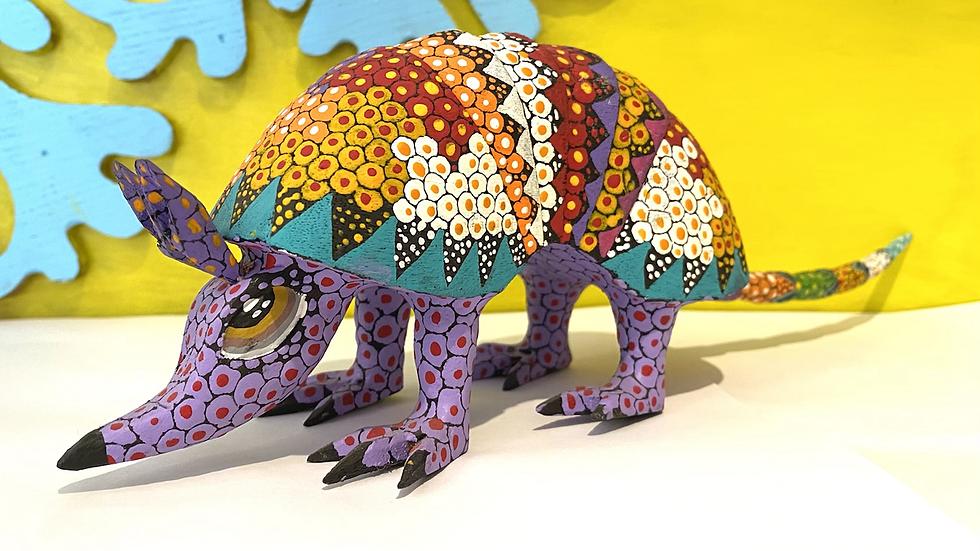 Purple armadillo Oaxacan Alebrije