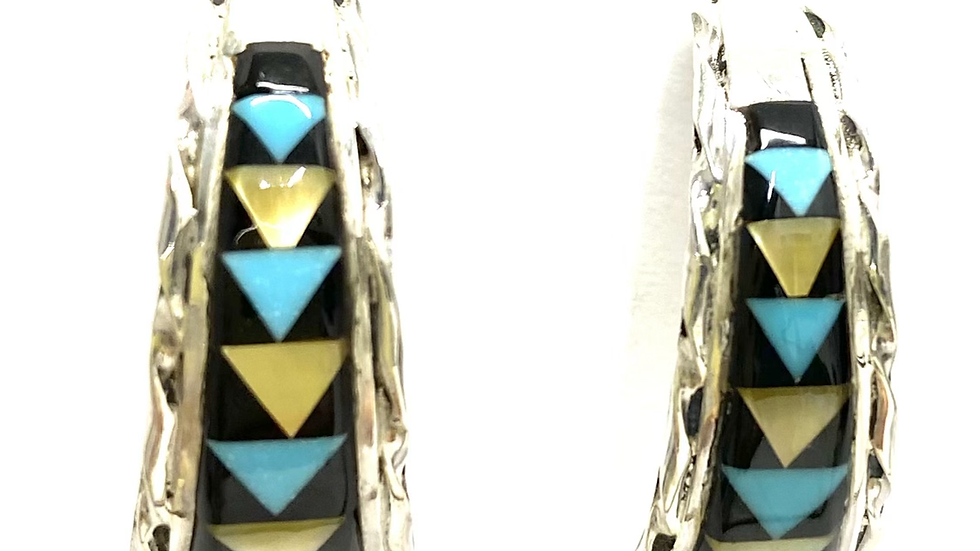 Inlay half hoop earrings