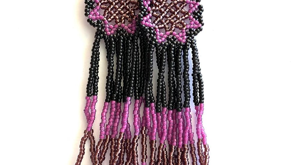 Purple & black Huichol earrings