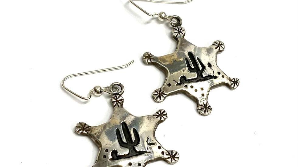 Sonoran Desert badge earrings