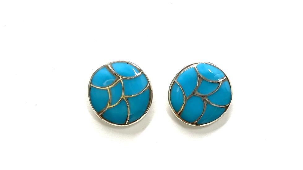 Turquoise inlay post earrings