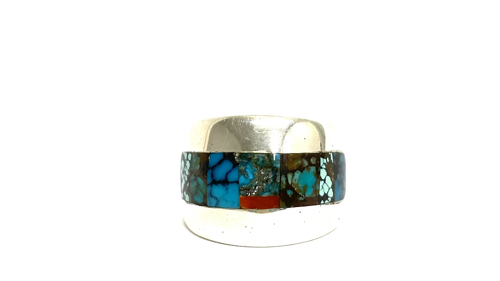 Turquoise coral inlay band