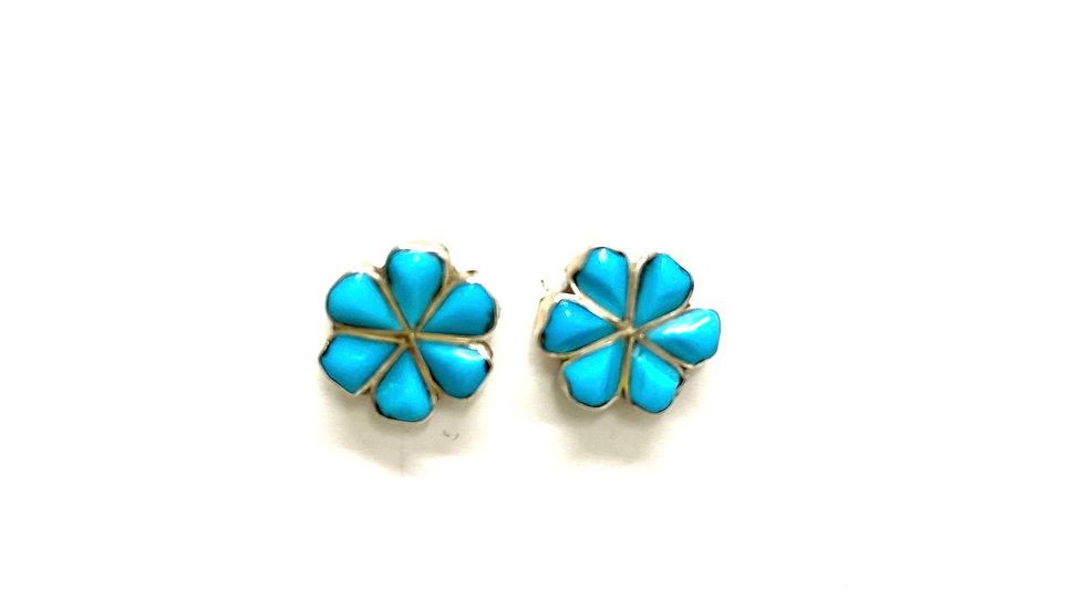 Turquoise post flower earrings