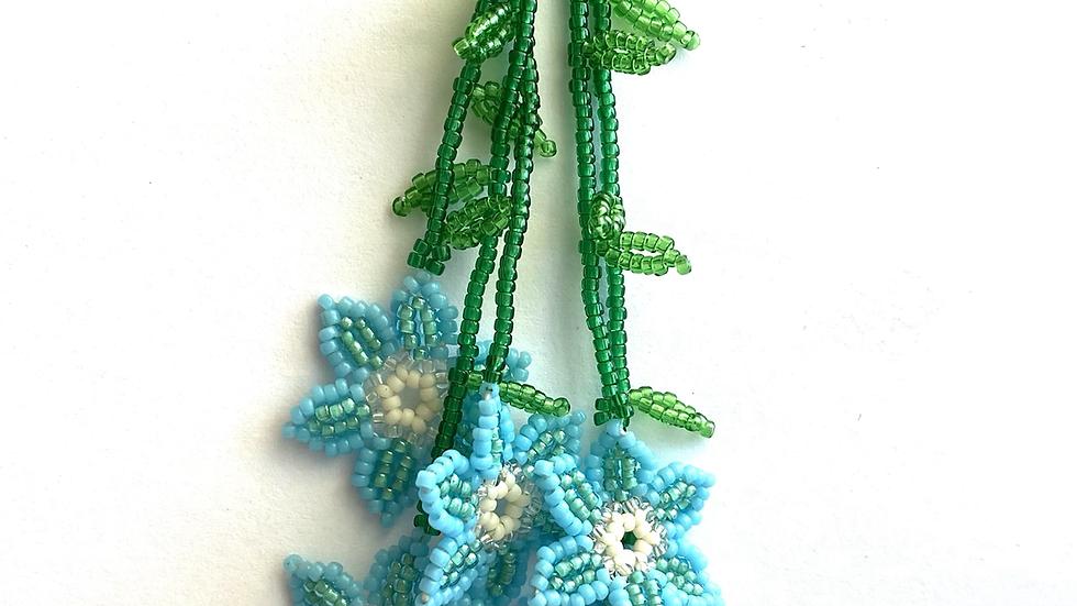 Blue Huichol 6 flower earrings