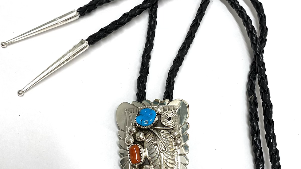 Coral & turquoise bolo tie