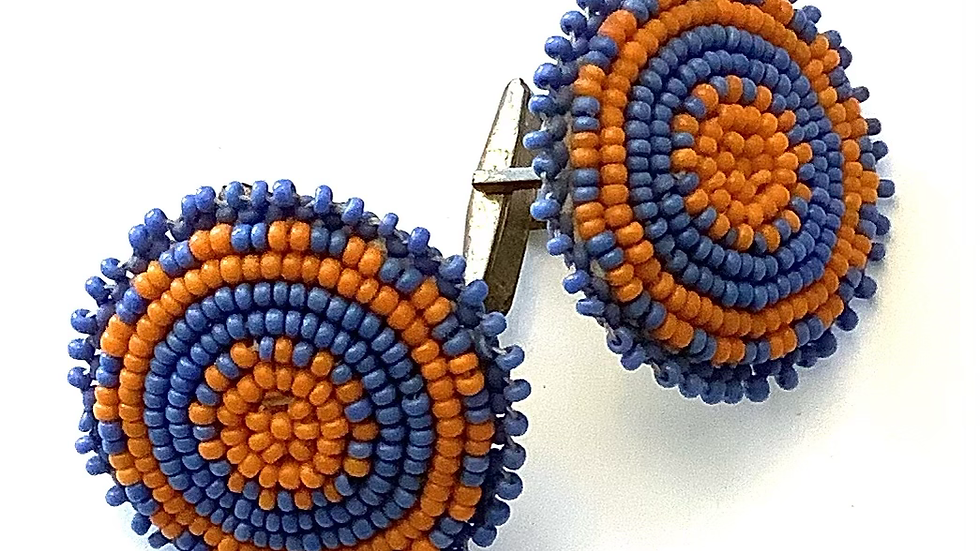 Beaded leather cuff links