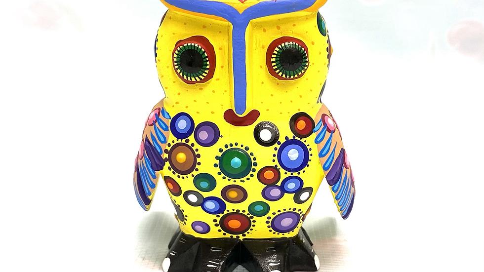 Yellow Owl Oaxacan Alebrije