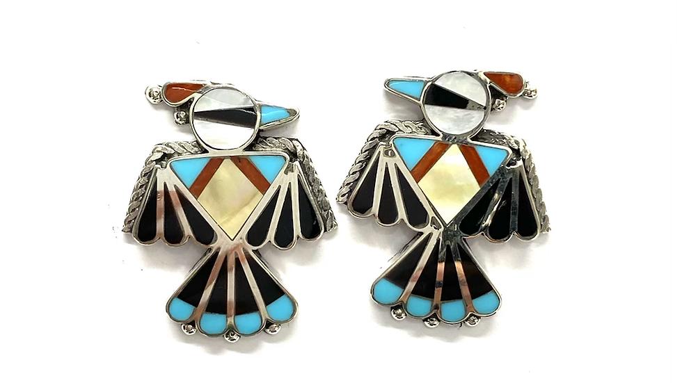 Bird inlay earrings