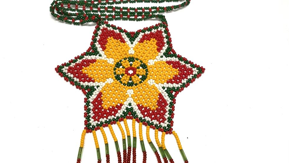 Beaded medallion flower necklace