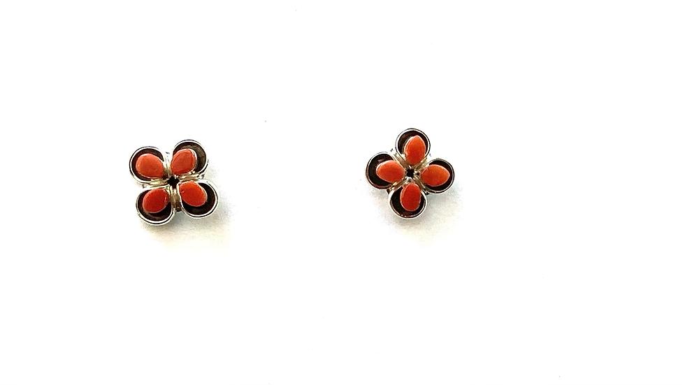 Red Coral flower sterling post earrings
