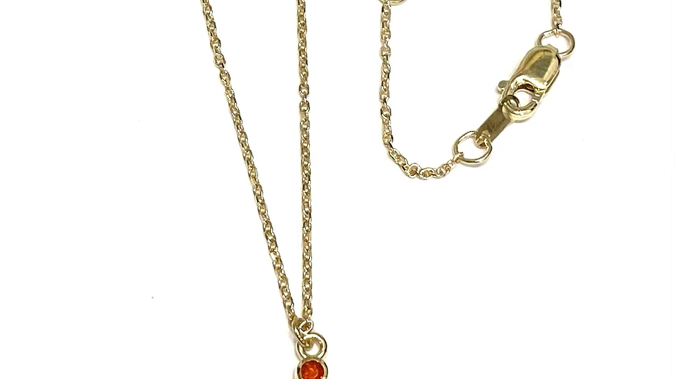 14k cluster Mexican fire opal necklace