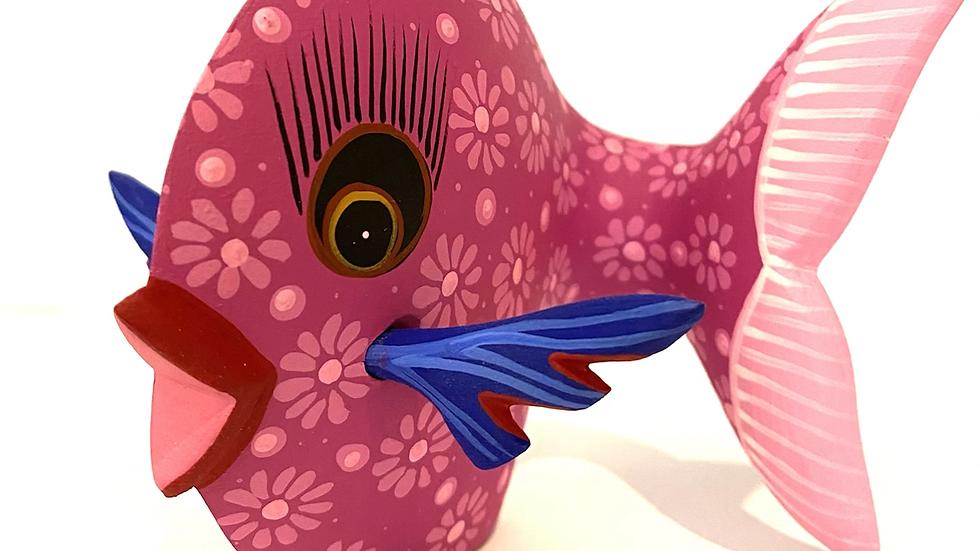 Pink fish Oaxacan Alebrije