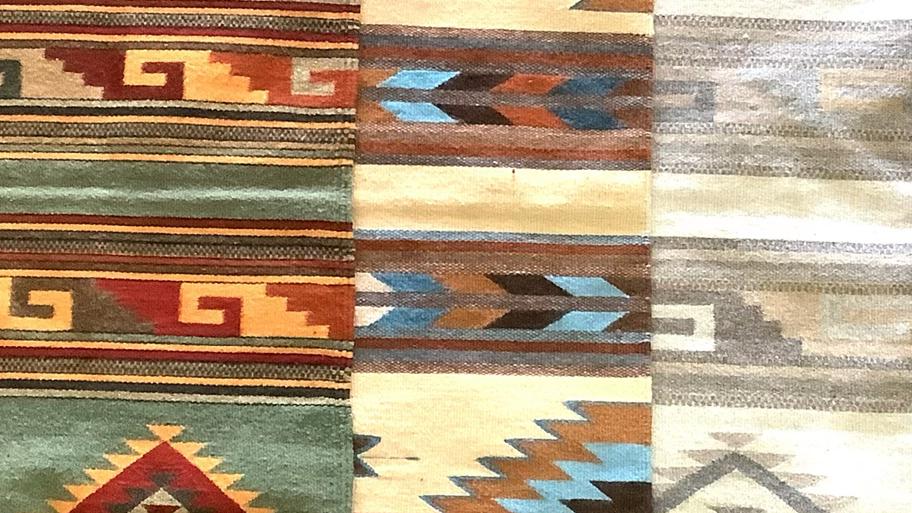 Zapotec rug sand and sky blue