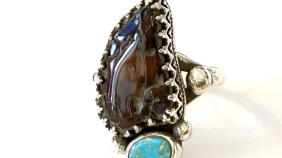 Agate and turquoise sterling silver ring