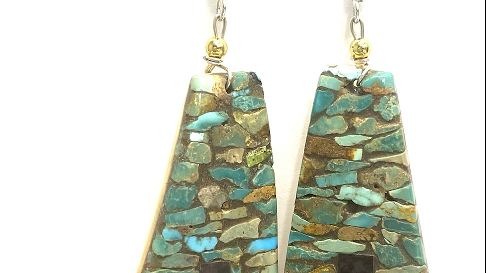 Mosaic turquoise chip earrings