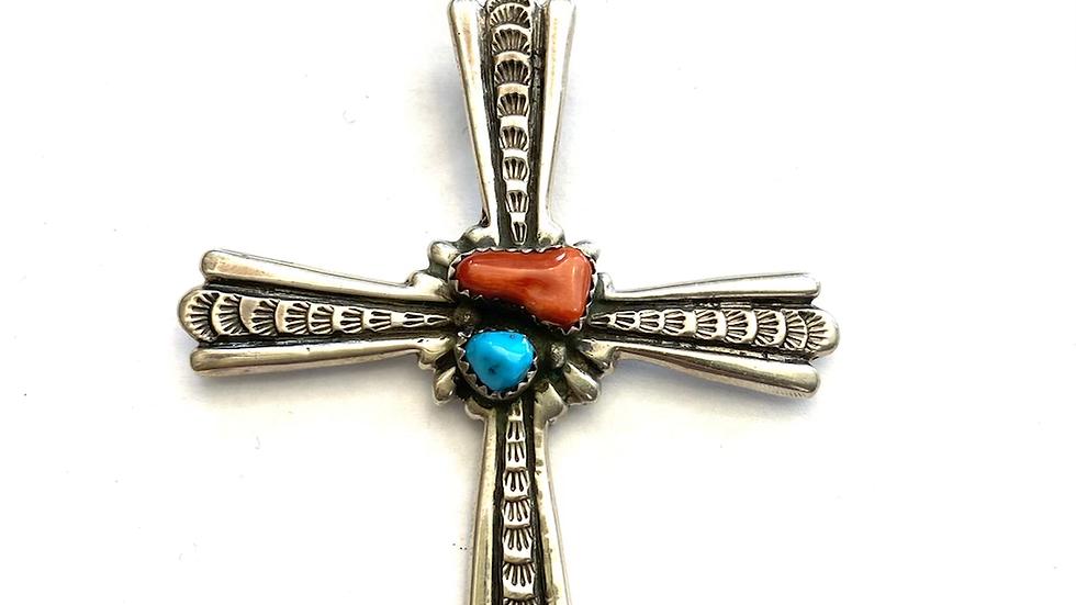 Navajo cross coral & turquoise pendant