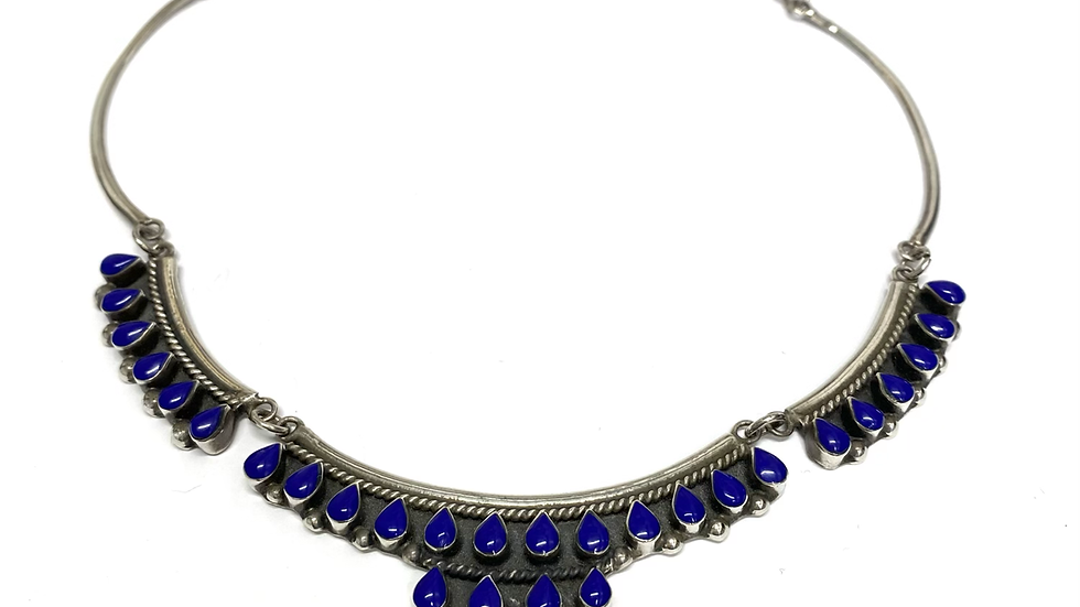 Lapis sterling silver collar necklace