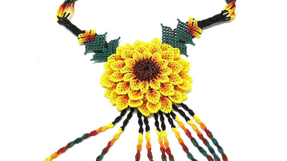 Yellow 3D Huichol flower necklace