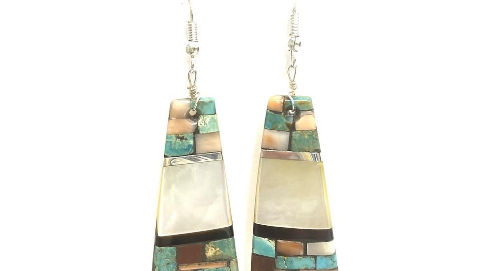 Mosaic white shell center earrings