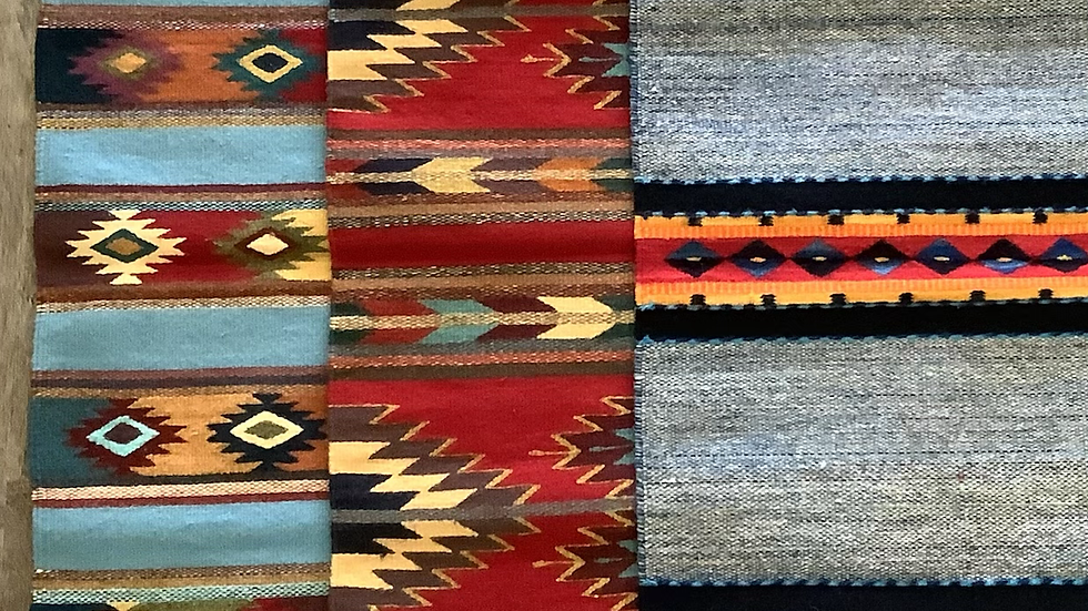 Zapotec rug sky blue and red