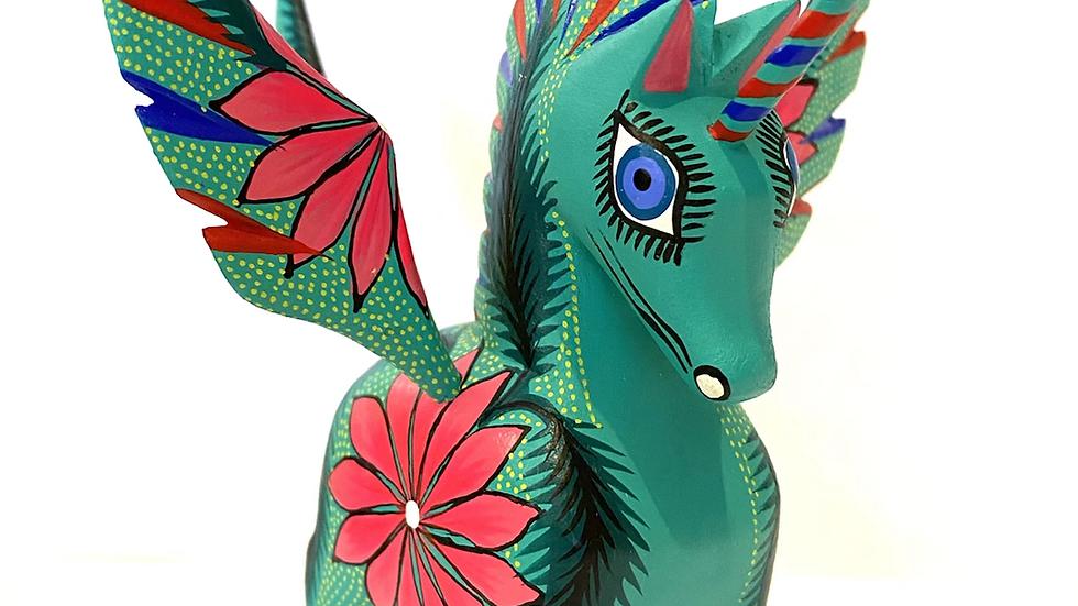 Teal unicorn Oaxacan Alebrije