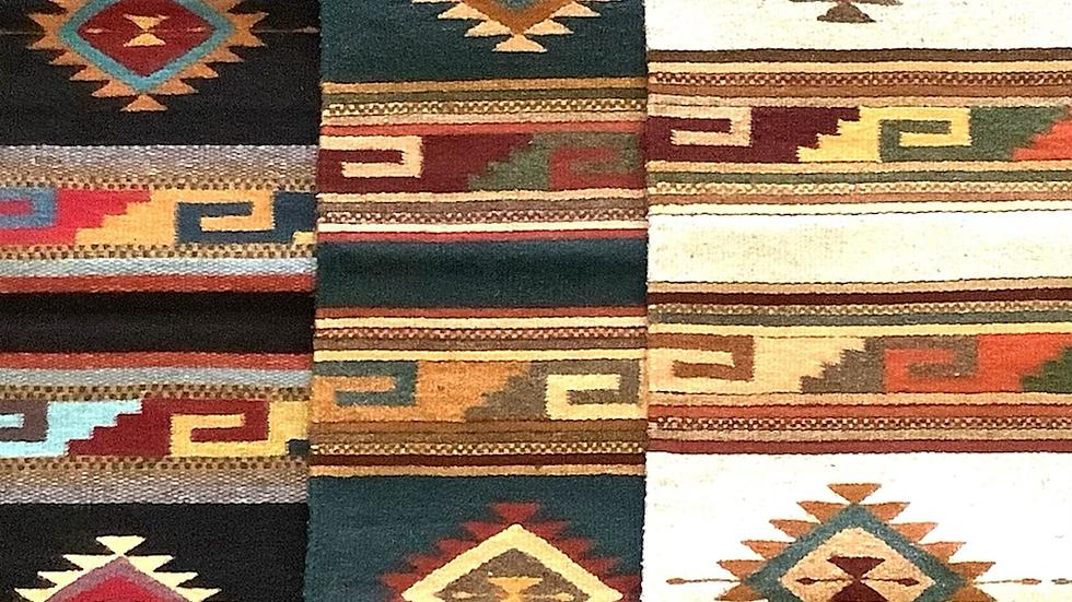 Zapotec rug dark teal