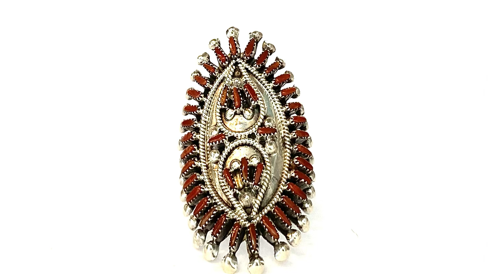 Coral petit point ring