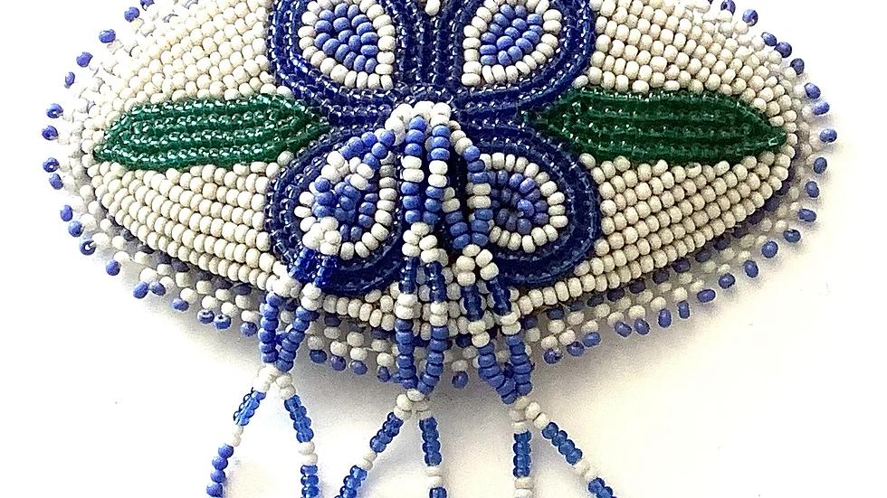 Blue flower hair barrette