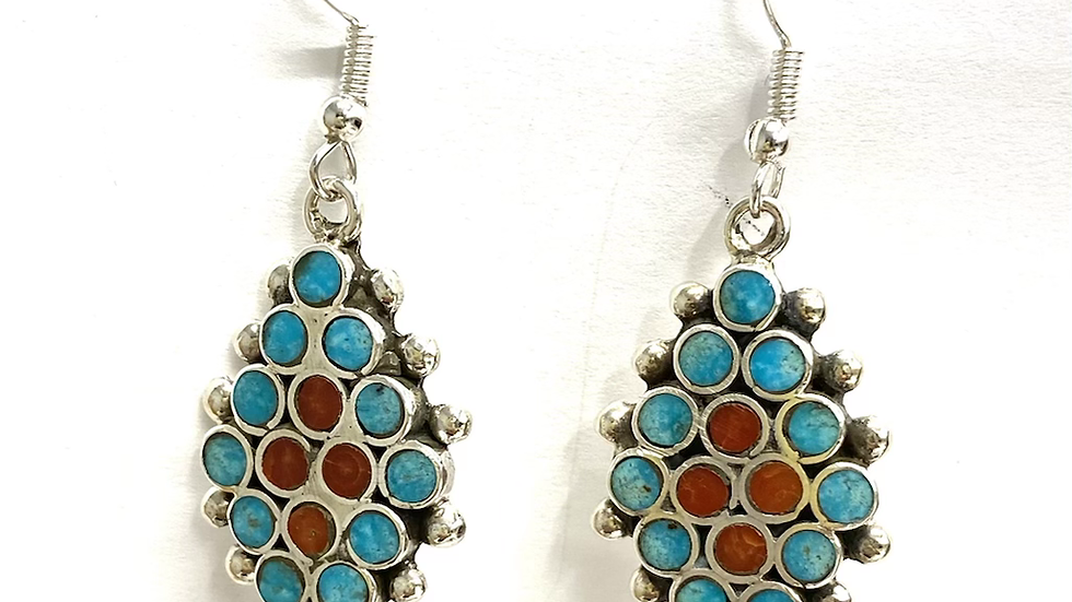 Turquoise coral bezel inlay earrings