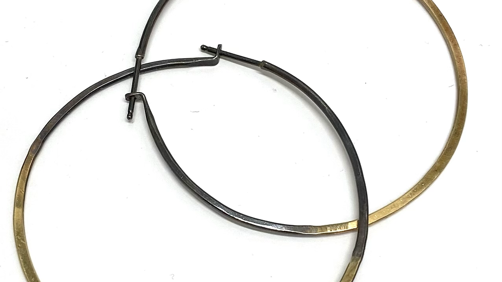 14k gold & silver hoops