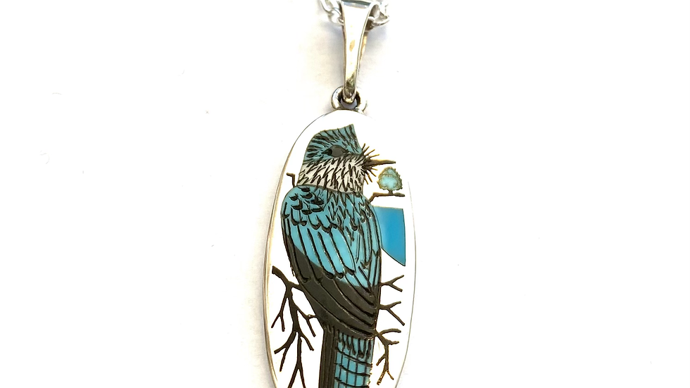 Belted king fisher inlay pendant