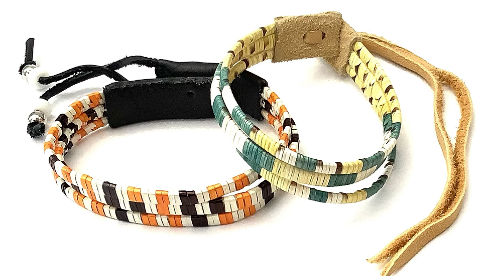 Green & yellow porcupine quill bracelet