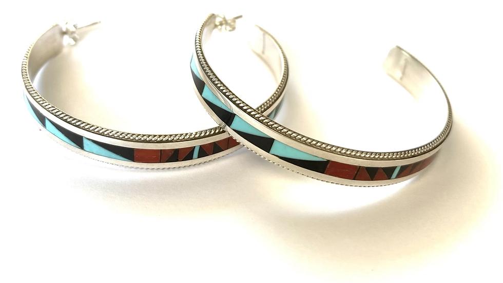 Zuni inlay hoops