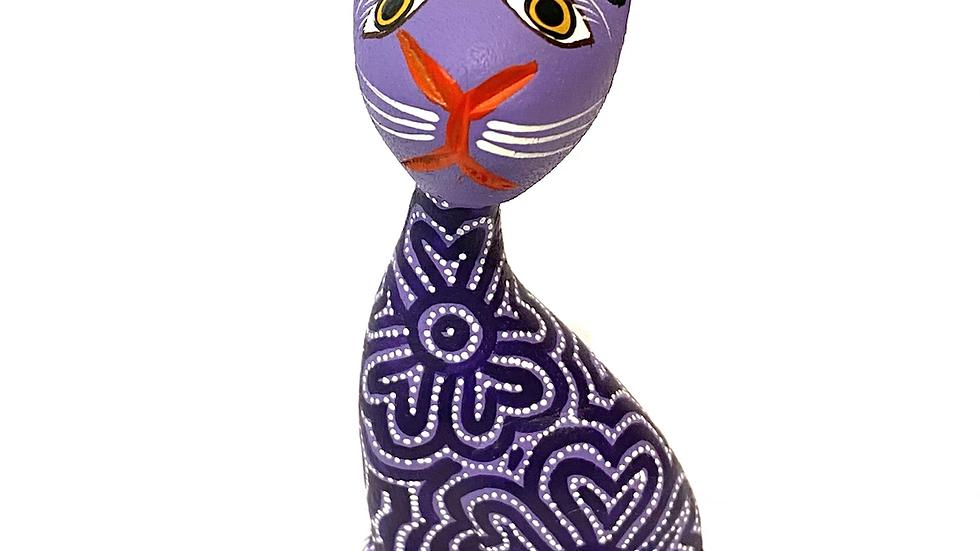 Purple cat Oaxacan Alebrije
