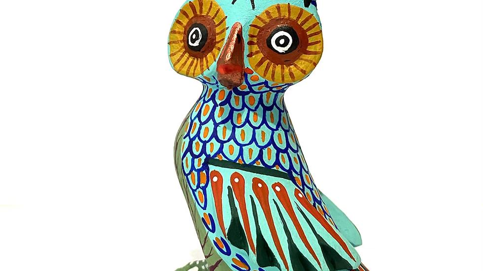 Teal owl Oaxacan Alebrije