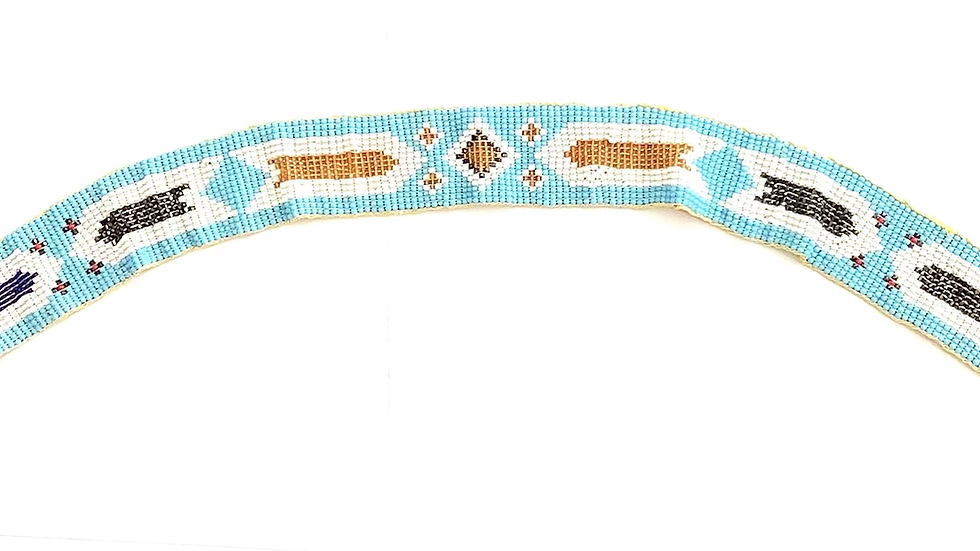 Beaded headband with tie closure