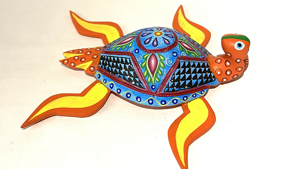 Orange sea turtle  Oaxacan Alebrije