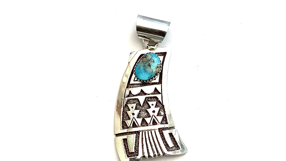 Turquoise silver overlay pendant